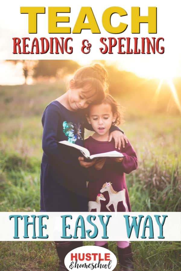 Teach Reading & Spelling the easy way with the best homeschool reading curriculum. Picture of 2 girls standing in a field reading a book.