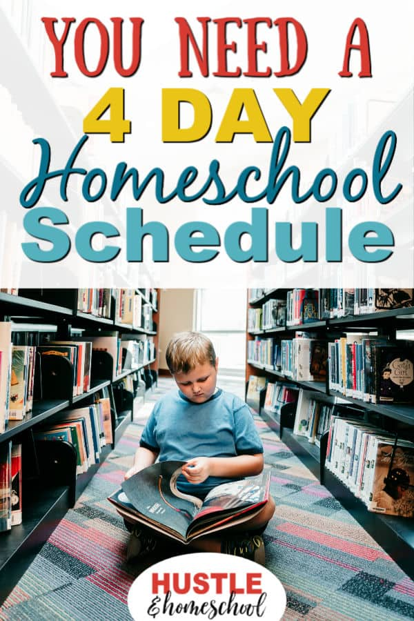 You need a 4 day homeschool schedule because it works! Boy reading a book at the library.