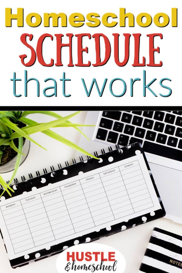 Make a homeschool schedule that works. Picture of daily planner.