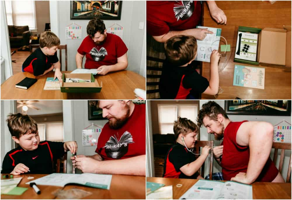 Dad and son spending quality time together doing projects from the Kiwi Crate subscription box.