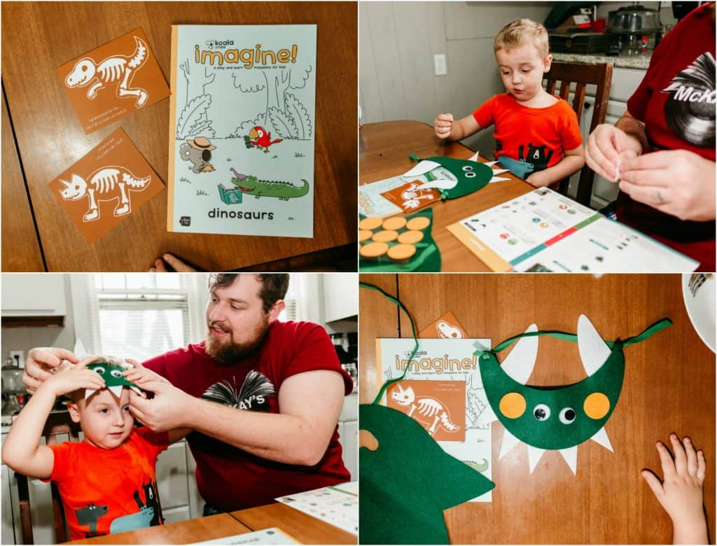 Dad and son doing dinosaur projects from the koala crate subscription box.