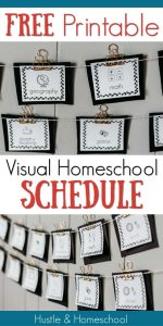 Visual homeschool schedule cards displayed on clips on string on the wall