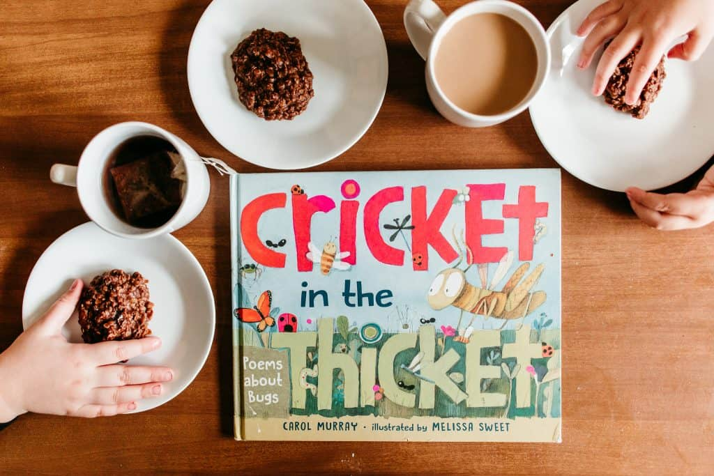 poetry teatime with cups of tea, cookies, and cricket in the thicket poetry book. poetry teatime for homeschoolers.