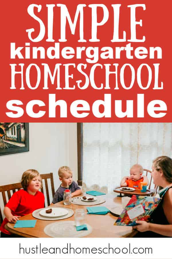 This is our simple kindergarten homeschool schedule with tips to personalize it for your family! Picture of mom and 3 boys sitting at the table homeschooling.