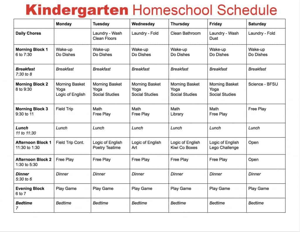 Simple Kindergarten Homeschool Schedule Hustle And Homeschool