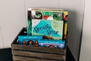 Morning basket with Bob books, breathe like a bear, and other books.