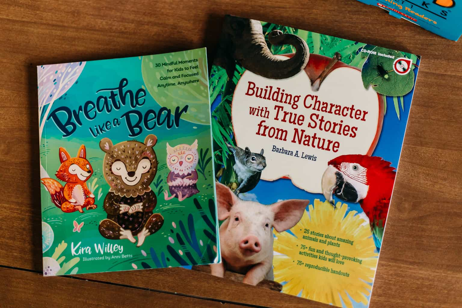 Kids books: Breathe Like a Bear and Building Character with True Stories from Nature. Secular mindfulness and character building books.