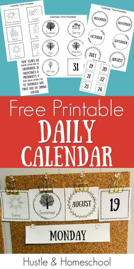 Free Printable Daily Calendar pages and display