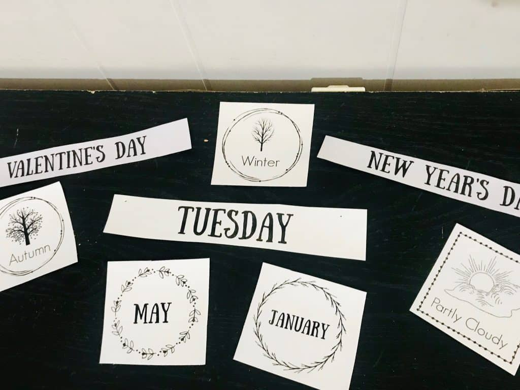 Daily Calendar time cards for seasons, holidays, days of the week and months.