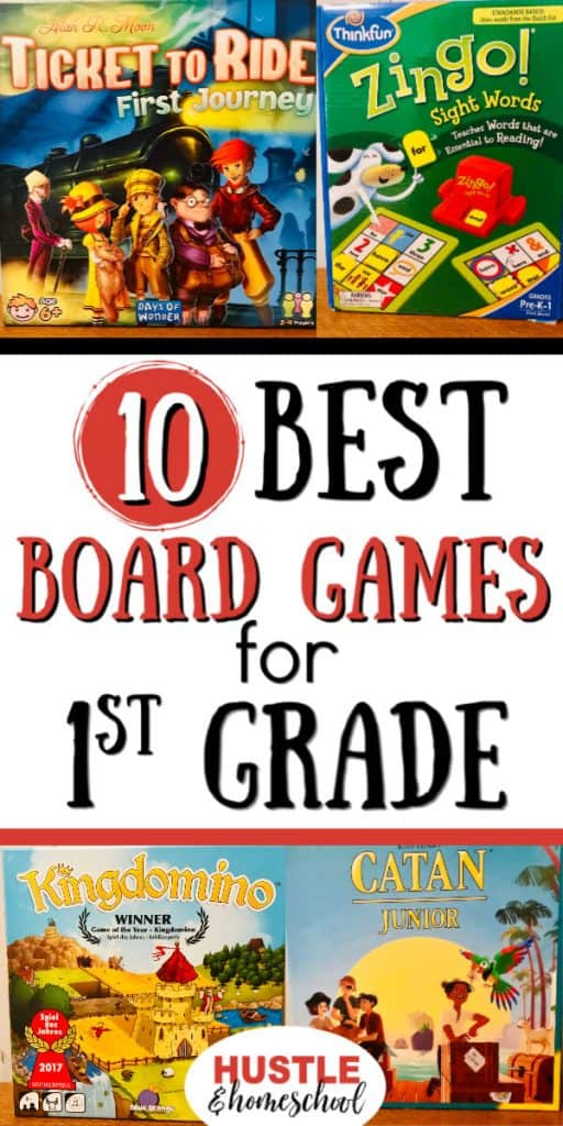 10 Best Board Games for First Graders include Ticket to Ride: First Journey, Zingo, Kingdomino, and Catan Jr.