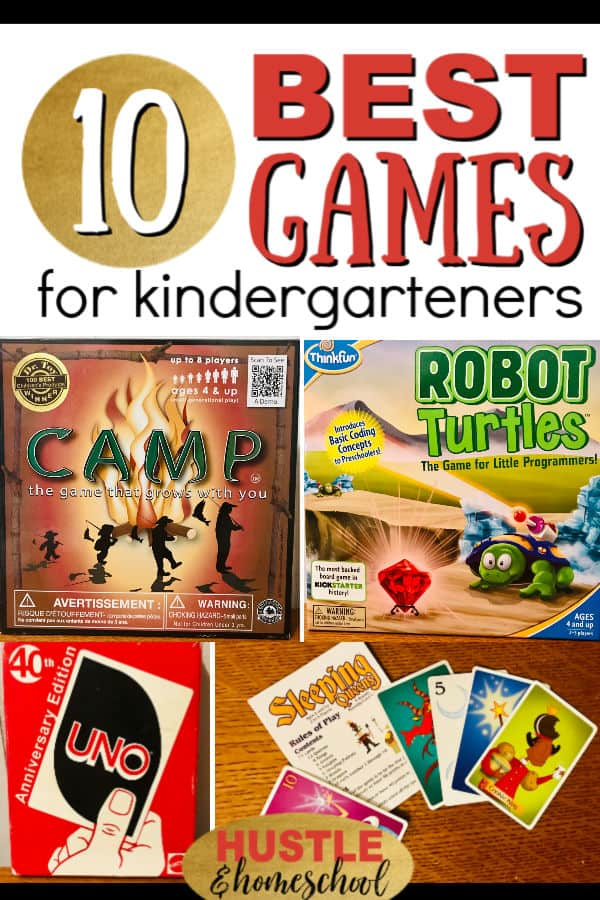 10 best board games for kindergarteners with pictures of games: camp, robot turtles, uno, and sleeping queens