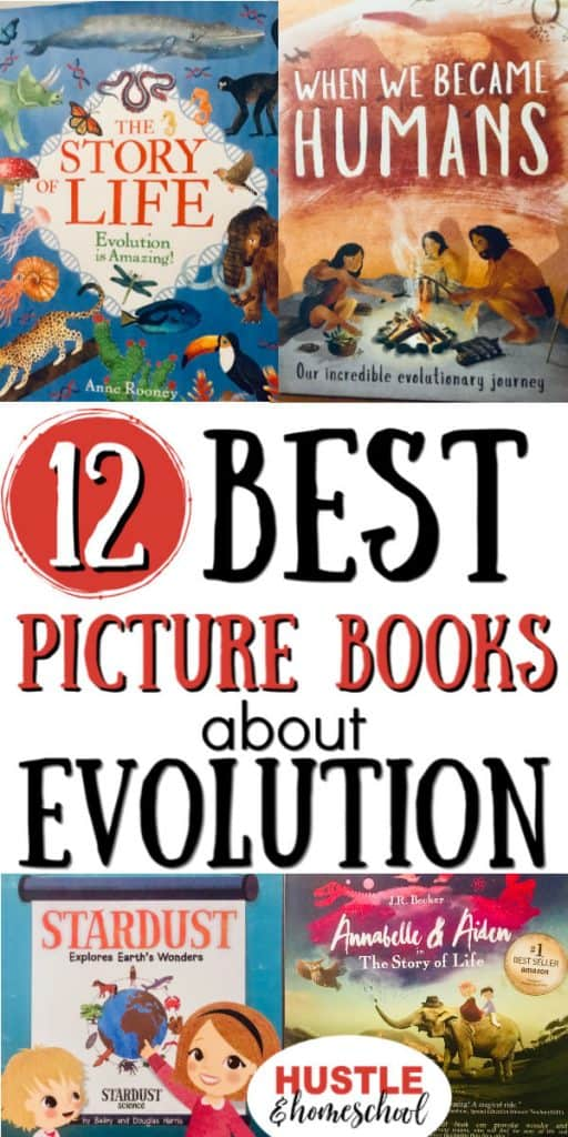 Pictures of the 12 best picture books about evolution.