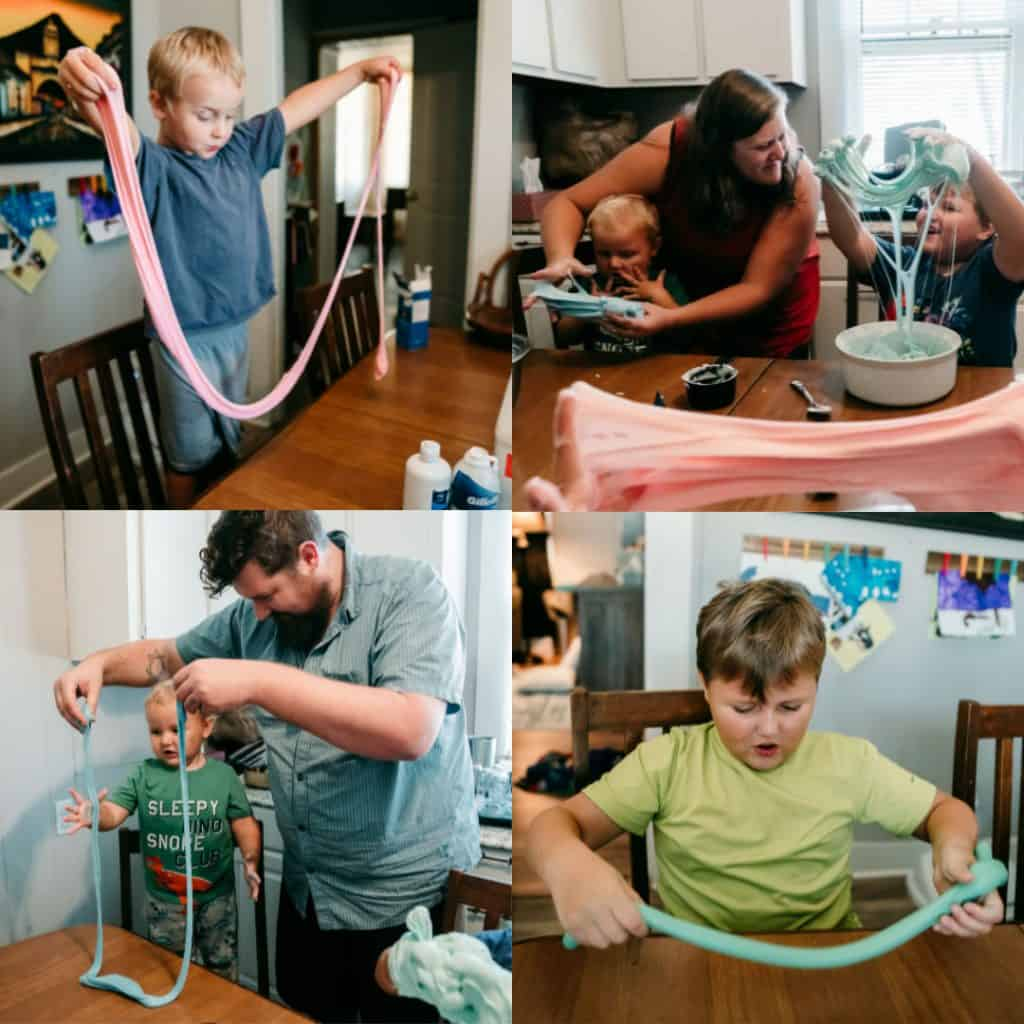 Collage of 3 kids making and playing with fluffy slime.