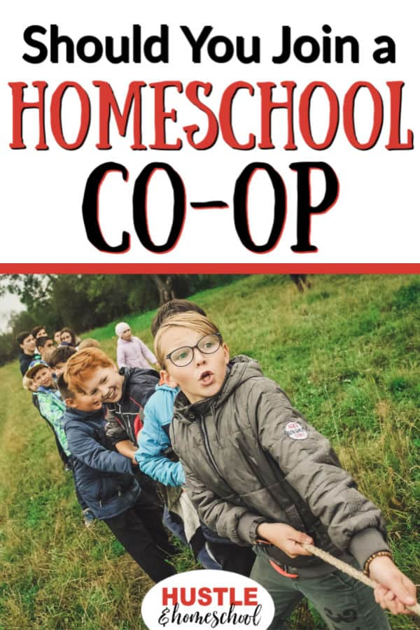 Should you join a homeschool co-op? Kids playing tug of war with a rope.