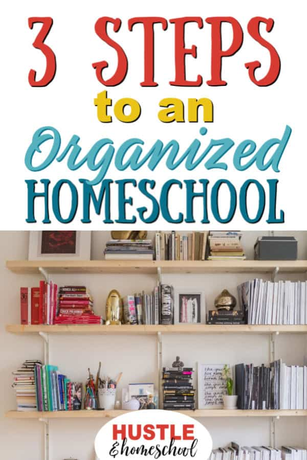 3 Steps to an Organized Homeschool | Picture of organized bookshelves