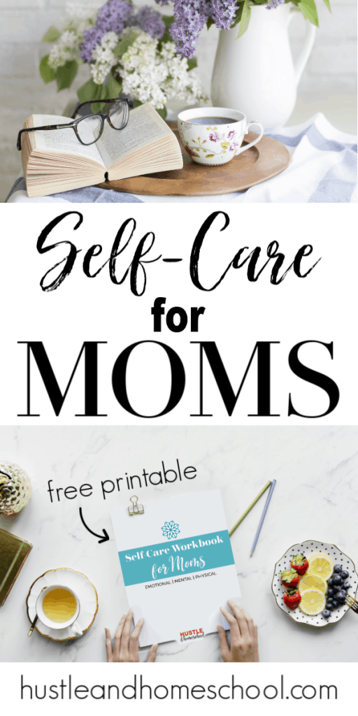 Self-Care Workbook for Moms, picture of book and tea, and the workbook.