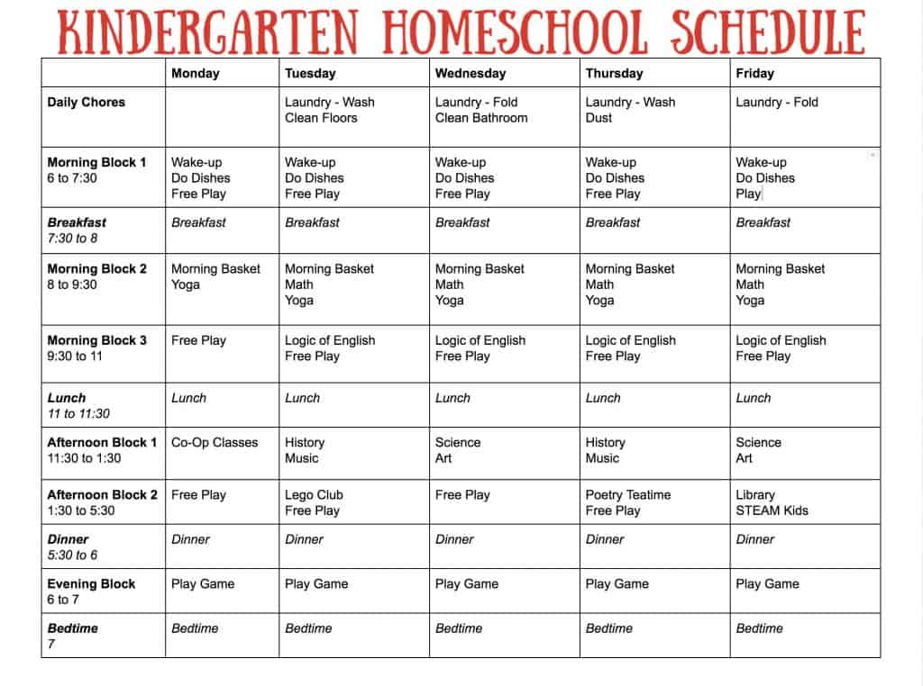 This is a graphic of Printable Homeschool Schedule with kindergarten