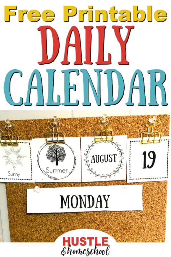 Free Printable Daily Calendar display with weather, season, month, date, and day of the week.