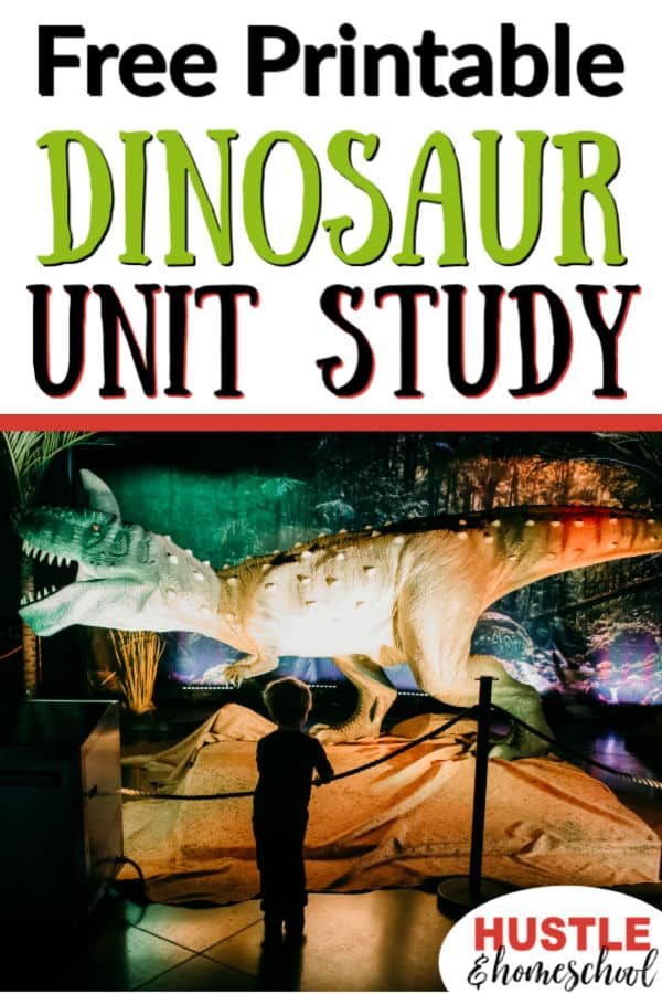Free Printable Dinosaur Unit Study for homeschoolers, boy looking at animatronic dinosaur