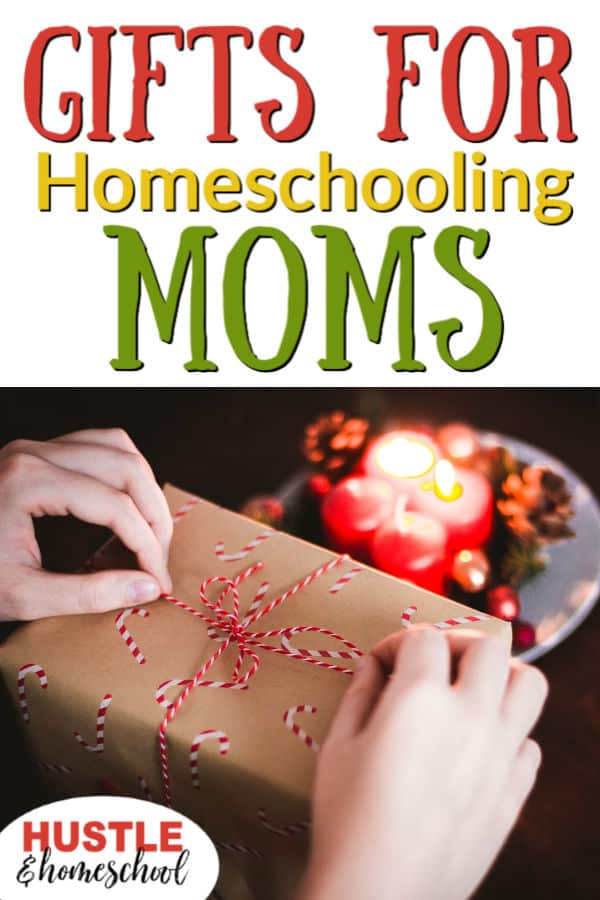 Christmas Gifts for homeschooling Moms, woman holding present about to unwrap it.