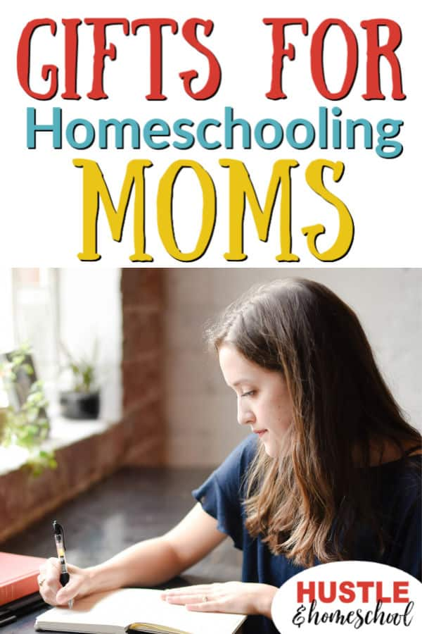 Gifts for Homeschooling Moms, picture of woman sitting at a desk. writing in a notebook.
