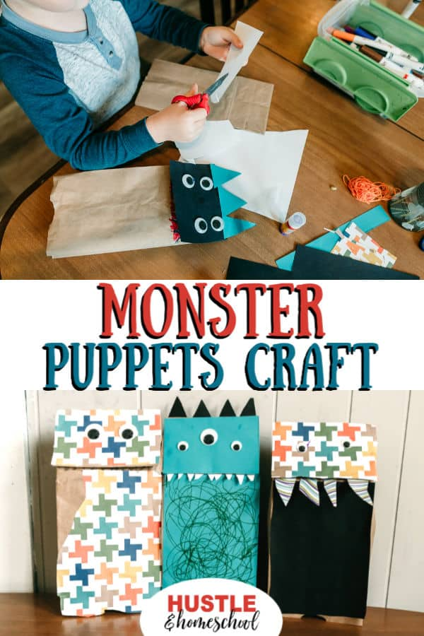 Boy making monster puppets and 3 monster puppets