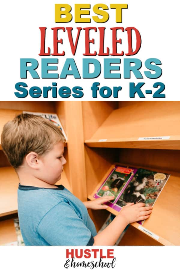 Best Leveled Readers Series for K-2 text overlay on picture of boy looking at bookshelf in library