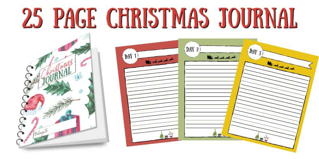 25 Page Christmas Journal notebook and preview of inside pages.