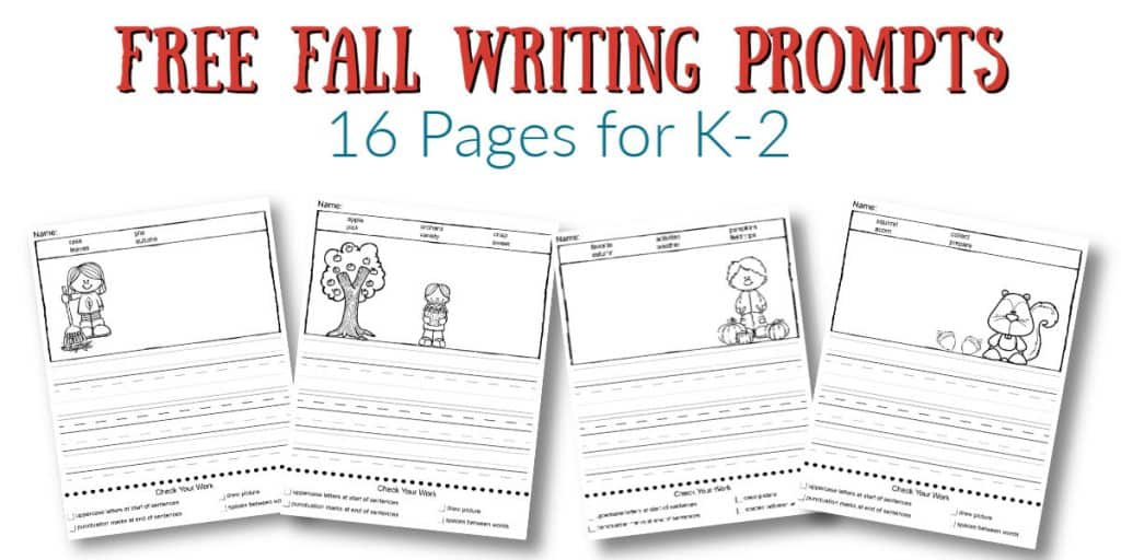 16 Pages of Free Fall Writing Prompts for grades K-2