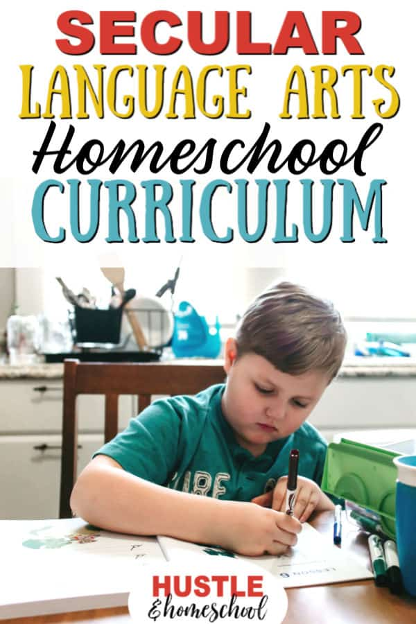 Secular language arts homeschool curriculum text overlay with picture of boy sitting in a chair at the table doing a worksheet.