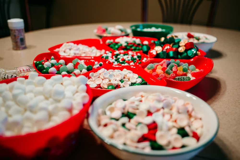 Candy in serving tray to use to decorate gingerbread houses