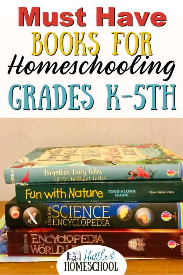 Stack of books for homeschooling grades K through 5th
