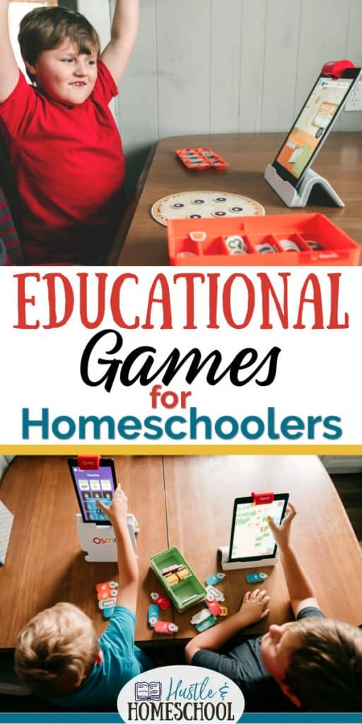 Boys playing educational games with hands-on pieces, kindle fire, and ipad