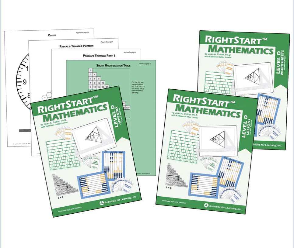 Right Start Math Level D books for 3rd grade math curriculum