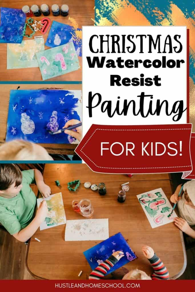 Christmas Watercolor Resist Painting for Kids art project