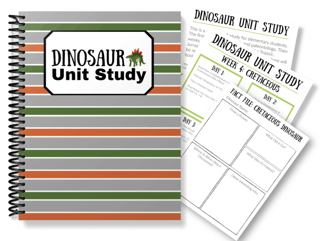 Dinosaur Unit Study Notebook and pages
