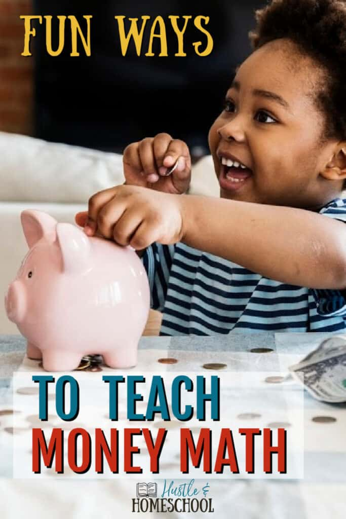little boy learning money math with piggy bank, coins, and dollar bills